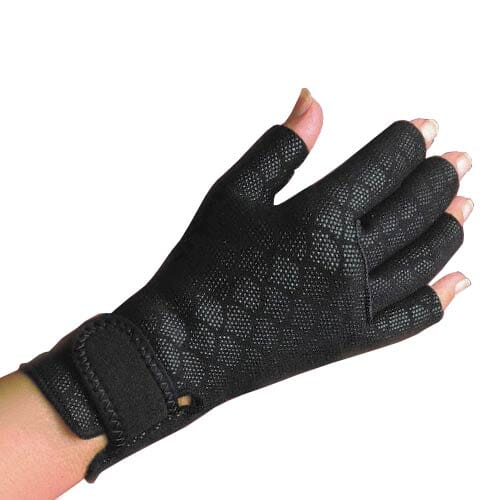 A right hand wearing a fingerless, black Thermal Arthritic Glove.