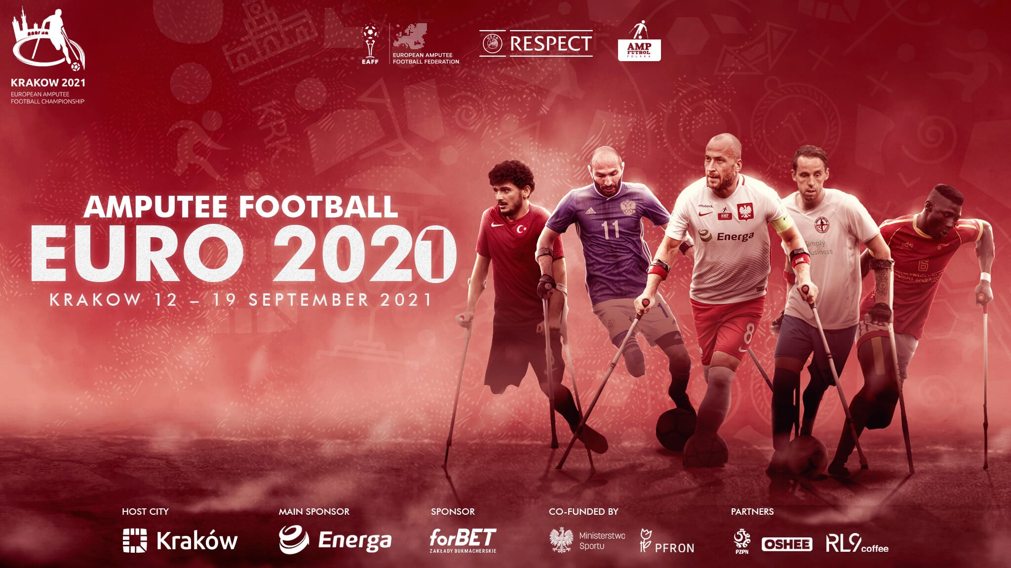advert for the 2021 Amputee Football Euro taking place in Krakow from 12 - 19 September